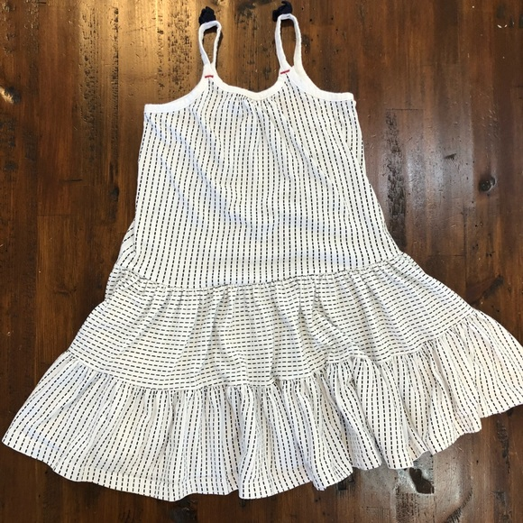 BURTS BEES Toddler Girls 4T White Tiered Ruffle Organic Cotton Knit Dress